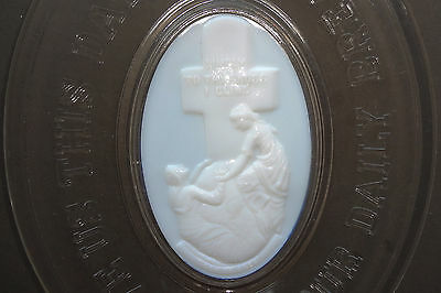 EAPG c1875 ATTERBURY GLASS BREAD PLATE - ROCK OF AGES -MILK GLASS INSERT-HANDLED