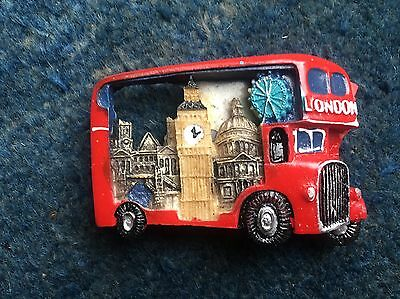 2X 3D Red London Bus Fridge Magnet Icon Novelty Holiday Souvenir British Gift Uk