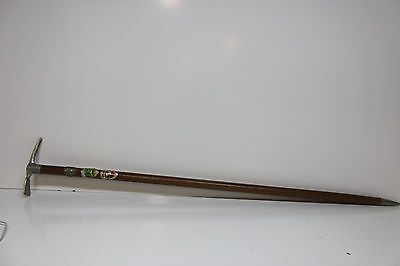 "Vintage Germany Ice Axe Walking Cane Wood Stick Metal Tip - 34 1/2"" - 3 Badges"