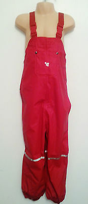 MUDDY PUDDLES red Puddleflex bib & brace waterproof trousers Age 5-6 rrp£24