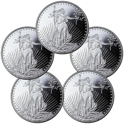 Highland Mint 1 oz. Silver Saint-Gaudens Design Round - Lot of 5 Rounds SKU45169