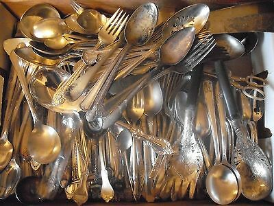150 Pc Mixed Lot Silverplate/Antique Flatware/Serving   #104