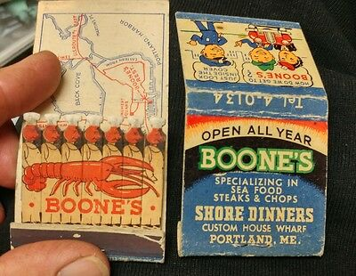 2two Vtg Boone's Restaurant Feature Lion Matchbook Chef & Lobster Portland Maine