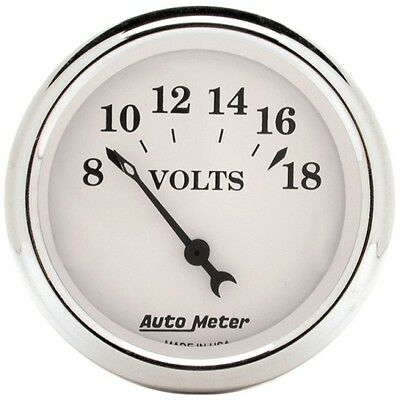 """Auto Meter 1692 2-1/16"""" Voltmeter Gauge 8-18V Air-Core Old-Tyme White"""