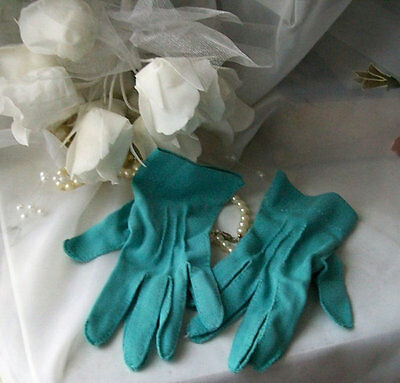 vintage evening gloves nylon size 6 Vintage blue nylon gloves womens gloves