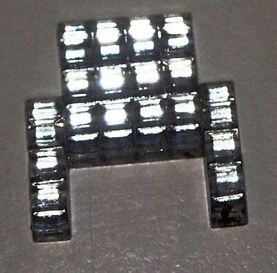 2 vtg Art Deco era Skyscraper Design Czech Glass Pave Rhinestone Stones 19x18MM