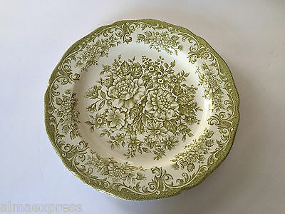 """J & G Meakin China AVONDALE GREEN Floral Scrolls Scalloped 10-3/8"""" DINNER PLATE"""