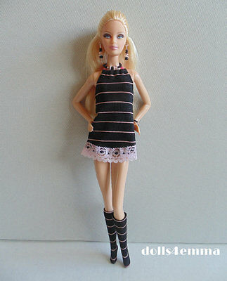 Model Muse Barbie Clothes Handmade DRESS + BOOTS + JEWELRY Fashion NO DOLL