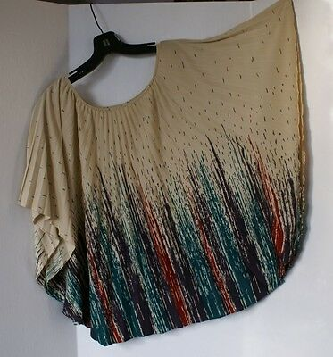 Pre-owned True Vtg 70s Pleated Polyester Shirt Top Women's Eggplant Forest Rust