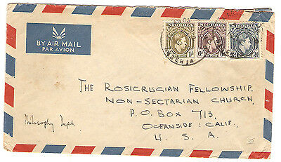 Nigeria Airmail Cover to Rosicrucian Fellowship Used Stamps