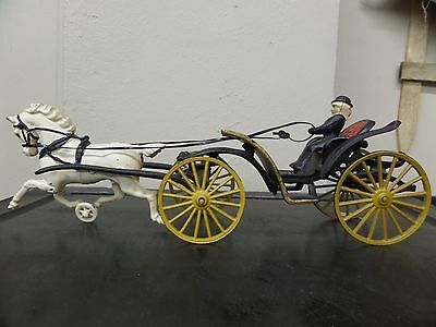 Vintage Cast Iron Toy - Lady, Carriage, and Horse