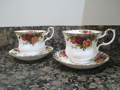 2 Large Vintage Royal Albert Old Country Roses Teacups and Saucers. 1962 -1973