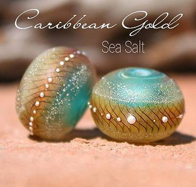 Caribbean Gold Round Duo(2) Lampwork Beads Handmade SRA A15