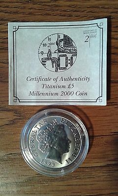 1999 Titanium Millennium 2000 Gibraltar £5 Five Pounds Proof Coin COA 1 of 25000