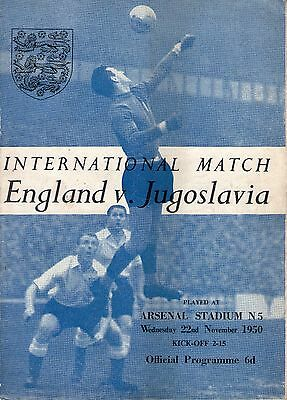 ENGLAND V YUGOSLAVIA Weds *22nd November 1950*
