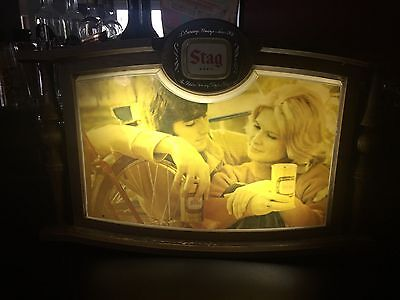 Rare Old Vintage Stag Beer Lighted Sign - Guy and a Girl Circa 1970s Wood Sign!