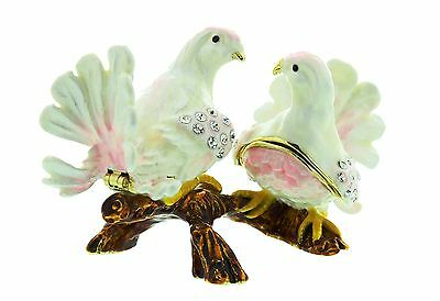 DOVE, Pair of LOVE DOVES BIRD Figure, Gift Ornament, Collectable TRINKET BOX