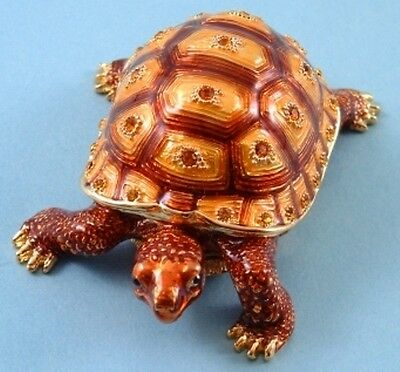 TORTOISE TRINKET BOX .  Enamelled Metal, Decorated with amber sparkling stones