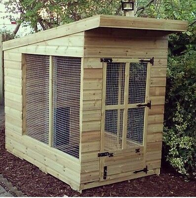 7ft x 4ft dog kennel and run tanalised timber