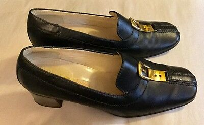 Vintage Gucci Womens Shoes Black Leather Chunky Heels Size 37 B, 6 1/2, 7