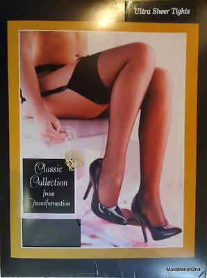 Transformation Ultra Sheer Nylon Tights  ~ One Size Stretch ~ Black