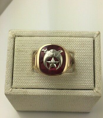 Men's 14K Yellow Gold Red Stone Shriners Ring Size 11