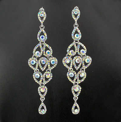 Drops Austrian Crystal Rhinestone Chandelier Dangle Earrings E2088Ab Ab White