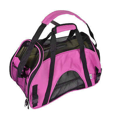Small Pet Carrier Dog & Cat Comfort Fleece Bed Mesh Travel Airline Approved Pink