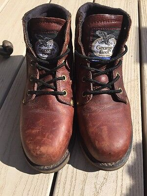 Georgia Steel Toe Work Boots Size 8 Rugged High Top Womans
