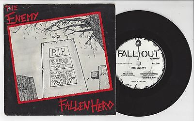 """THE ENEMY Fallen Hero - RARE VG+/VG 1982 Fall-Out Records 7"""" PUnk 7"""" & Insert"""
