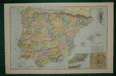 1905 Antique Map ~ Spain & Portugal Lisbon Madrid Balearic Isles Andalusia