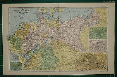 1905 Antique Map ~ German Empire With Holland & Belgium Metz Strasburg Berlin