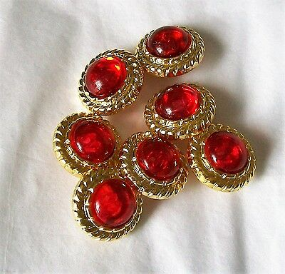 vintage buttons Lot of 7 red faux gem sewing buttons  blue gem buttons