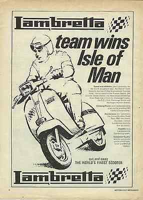 1 Only! Orig. Historic 1970 Lambretta Scooter Isle Of Man Wins Sales Poster/ad