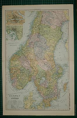 1905 Antique Map ~ Norway & Sweden Stockholm Christiania Gottland Wisby