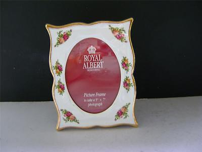 """Pretty Ceramic Picture Frame in """"Old Country Roses"""" Design by Royal Albert."""