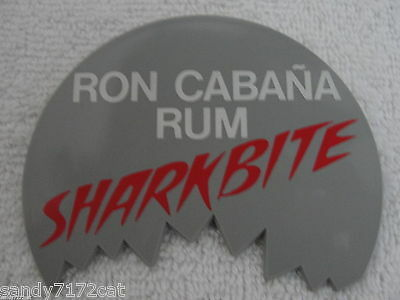 Pinback Button Ron Cabana Rum Shark Bite 1980s Vintage 1 Plastic Gray White Red
