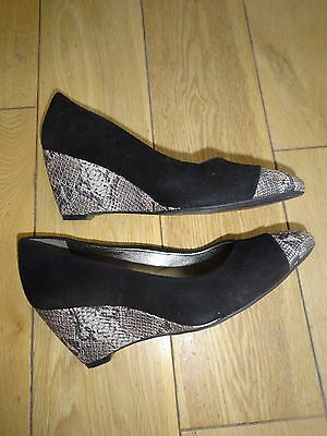 Ladies Jane Shilton Black Wedge Shoes (suede and leather toe) - size 37