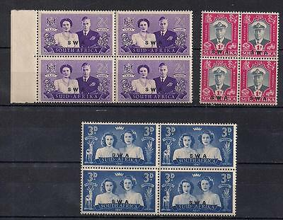1947 South West Africa Royal Visit Mnh Blocks Of Four - Rb57