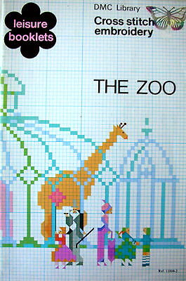 Leisure Booklets DMC LIBRARY - CROSS STITCH EMBROIDERY THE ZOO - Charts etc VGC