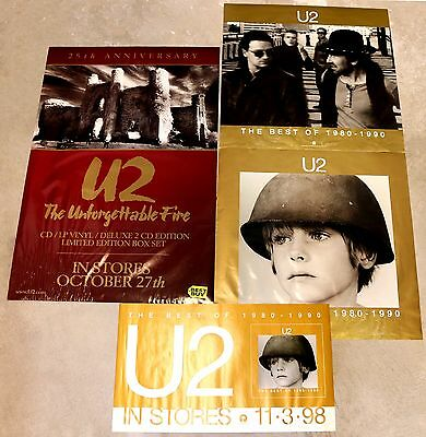 U2 1998 The Best of 1980-1990 4 Piece Promo Poster Set with Water Damage Rare