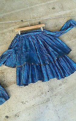 Vintage 80s Iridescent Blue and Black Tiered Skirt with Long Waist Tie