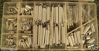 200pc SPRING ASSORTMENT With Divider Case Heat Treated Zinc Plated 20 Sizes New