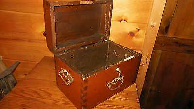 Vintage Wooden DOCUMENT BOX / Primitive Box / Early DOVETAILED Wood Box