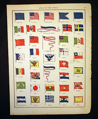 Antique Chart 1892 World and US Flags OR US Population 1780-1890