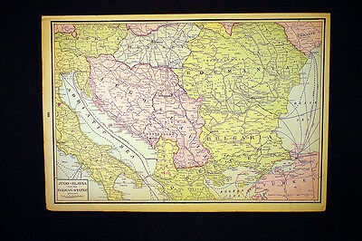 Antique Map 1925 Yugoslavia and Balkan States OR Greece