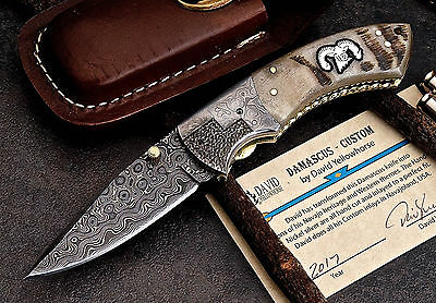 CFK USA DAVID YELLOWHORSE Custom Handmade Damascus RAM Folding Pocket Horn Knife