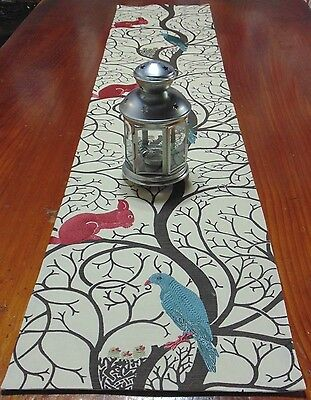 Table Runner Designer Fabric,Squirrel & Dove Cream Teal Red & Brown.