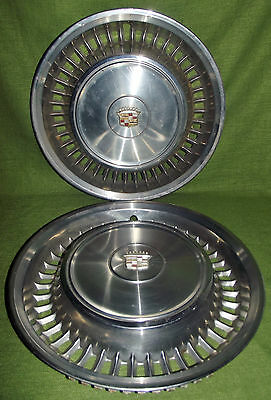 "Vintage Pair of 1960s Cadillac Hub Caps Collectible DeVille/Seville 16"" Diameter"