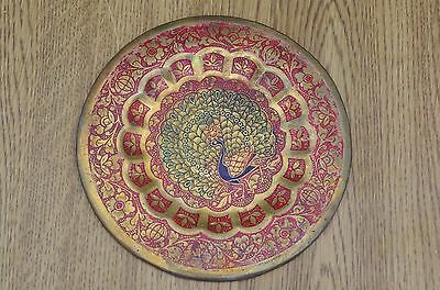 Vintage India(?) Ornate Peacock Decorative Brass Wall Decor Plate Lovely